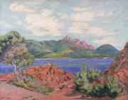 The Hills Painting Framed Prints - The Bay of Agay Framed Print by Jean Baptiste Armand Guillaumin