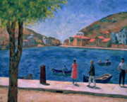 Village By The Sea Painting Prints - The Bay of Balaklava Print by Aleksandr Davidovic Drevin