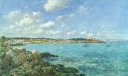 Sailboat Ocean Framed Prints - The Bay of Douarnenez Framed Print by Eugene Louis Boudin