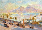 Sailboats In Water Painting Posters - The Bay of Naples with Vesuvius in the Background Poster by Pierre Auguste Renoir
