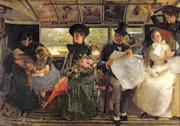 Reading The Paper Framed Prints - The Bayswater Omnibus Framed Print by George William Joy