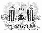 Pen Drawings Drawings Framed Prints - The Beach Framed Print by Adam Zebediah Joseph