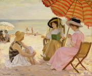 Parasols Paintings - The Beach by Alfred Victor Fournier