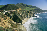 Bixby Bridge Metal Prints - The Beach And Shoreline Along Highway 1 Metal Print by Phil Schermeister