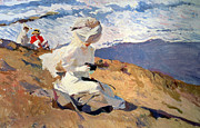 White Dress Posters - The Beach at Biarritz Poster by Joaquin Sorolla