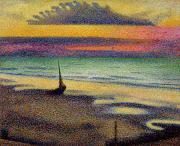 Sunset Scenes. Painting Posters - The Beach at Heist Poster by Georges Lemmen