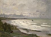 Impressionism; Impressionist; Harbour; Harbor; Sea; Ocean; Ship; Boat; Sail; Sailing;water Prints - The Beach at Sainte Adresse Print by Claude Monet