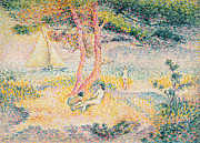Woman Relaxing Prints - The Beach at St Clair Print by Henri-Edmond Cross