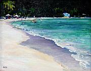 Acquamarine Paintings - The Beach British Virgin Islands by Cathy Boyd