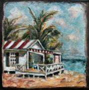 Palm Trees Mixed Media Prints - The Beach Print by Carrie Joy Art
