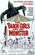 Green Monster Prints - The Beach Girls And The Monster Print by Everett
