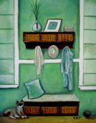 Pottery Paintings - The Beach House by Elizabeth Robinette Tyndall