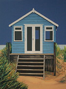 Beach Hut Paintings - The Beach Hut by Linda Monk