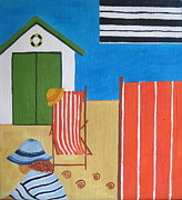 Beach Hut Paintings - The Beach Hut by Pat Barker