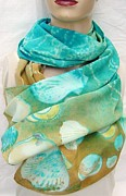 Silk Scarf Tapestries - Textiles Originals - The Beach Large Silk Crepe Scarf by Morgan Silk