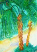 Palm Trees Fronds Originals - The Beach by Susan Burns