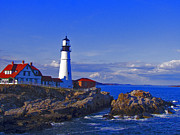 Maine Lighthouses Digital Art Framed Prints - The Beacon Framed Print by Mike Griffiths