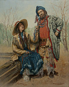 Men And Women Painting Prints - The Bead Traders  Print by C Michael French