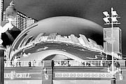 Chicago Black White Digital Art Posters - The Bean - 1 Poster by Ely Arsha