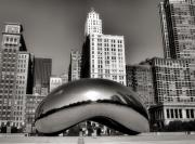 Chicago Skyline Black White Posters - The Bean - 3 Poster by Ely Arsha