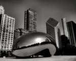 Chicago Skyline Black White Posters - The Bean - 4 Poster by Ely Arsha