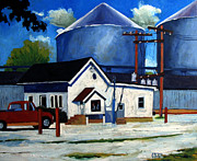 Small Towns Painting Metal Prints - The Bean Counters Metal Print by Charlie Spear