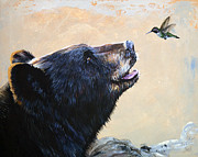 Wildlife Art Framed Prints - The Bear and the Hummingbird Framed Print by J W Baker