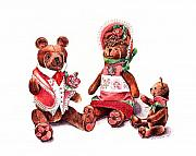 Toy Animals Drawings Prints - The Bear Family Print by Arline Wagner