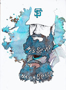 Giants Mixed Media Posters - The Beard Poster by Michael  Pattison