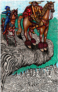 Enterprise Mixed Media Metal Prints - The Beast And Nahamanides In Shitaki Forest Metal Print by Al Goldfarb