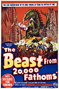 Australian Poster Framed Prints - The Beast From 20,000 Fathoms Framed Print by Everett