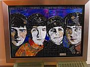 Beatles Glass Art Originals - The Beatles-2008 by Maria Carrasco