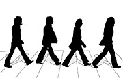 Abbey Road Digital Art Prints - The Beatles Abbey Road Silhouette Drawing Print by Anthony Timmons