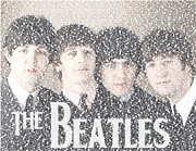 The Beatles John Lennon Drawings - The Beatles Albums Mosaic by Paul Van Scott