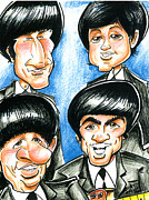 George Harrison Drawings - The Beatles by Big Mike Roate