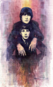 Watercolour Painting Metal Prints - The Beatles John Lennon and Paul McCartney Metal Print by Yuriy  Shevchuk