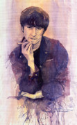 Watercolour Painting Metal Prints - The Beatles John Lennon Metal Print by Yuriy  Shevchuk