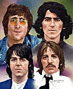 The Beatles John Lennon Drawings - The Beatles by Judy Skaltsounis