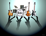 Drum Metal Prints - The Beatles Metal Print by Lena Day