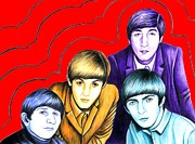 Fab Four  Drawings - The Beatles by Margaret Sanderson
