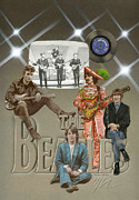 Guitar Drawings Posters - The Beatles Poster by Marshall Robinson