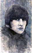 Watercolor  Paintings - The Beatles Ringo Starr by Yuriy  Shevchuk