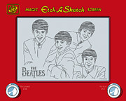 Old Digital Art Posters - The Beatles Poster by Ron Magnes