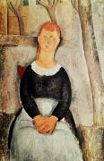 Abstract Expressionist Metal Prints - The Beautiful Grocer Metal Print by Amedeo Modigliani