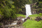 Lush Green Framed Prints - The Beautiful Waimea Falls On Oahu Framed Print by Taylor S. Kennedy