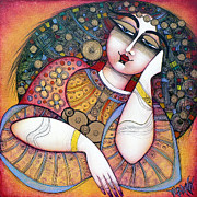 Red Woman Prints - The Beauty Print by Albena Vatcheva