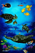 Sea Turtles Posters - The Beauty Below Poster by Kathleen Kelly Thompson
