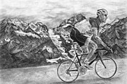Alps Drawings - The Beauty of Cycling by Avery Wilson