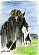 Animals Drawings Posters - The Beauty of Horses No.6 Poster by Gunilla Wachtel