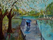 Rainy Street Painting Originals - The Beauty Of It All by Leslie Allen